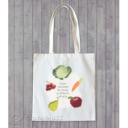 """Bolsa de tela """"5 raciones de fruta y verdura"""""""